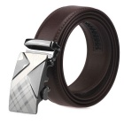 Men's Automatic Buckle Belt Split Leather Floor - Brown (130cm)