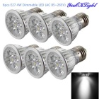 YouOKLight E27 4W Dimmable 4-LED Spotlight White Light 6000K 350lm (AC 85~265V / 6PCS)
