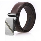 Men's Automatic Buckle Belt Leather Floor - Brown (125cm)