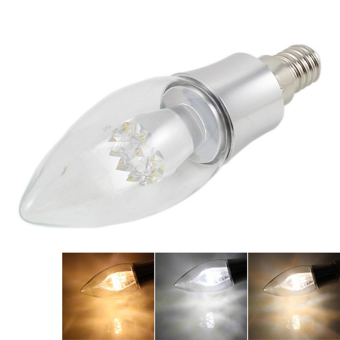 E14 4W 6-LED Candle Bulb Cool / Warm / Neutral White Light - Silver
