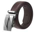 Men's Automatic Buckle Belt Leather Floor - Brown (115cm)