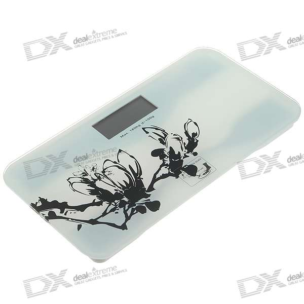 "3.0"" LCD Glass Electronic Bathroom Scale - White (180kg Max/100g Resolution/1*CR2032)"