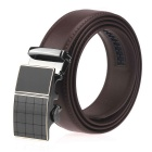 Men's Automatic Buckle Split Leather Belt - Brown (115cm)
