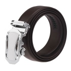 Men's Automatic Buckle Belt Leather Floor-Brown-115cm