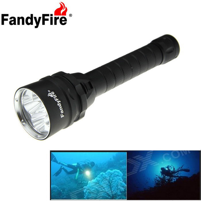 FandyFire XM-L2 LED 5000lm 3-Mode Cold White Diving Flashlight - Black