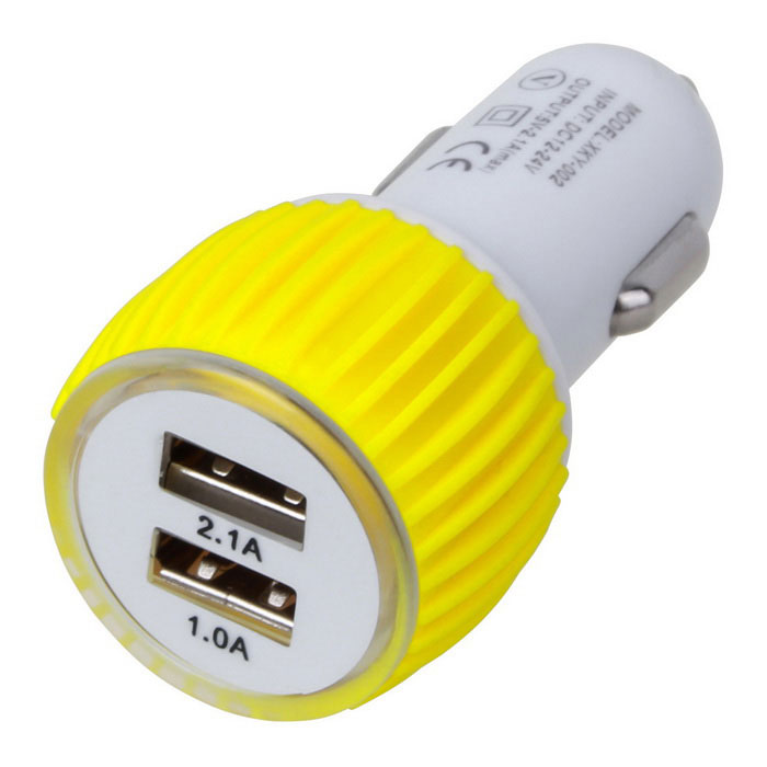 Silicone Ring 5V 2.1A 2-Port USB Car Charger - White + Yellow (12~24V)