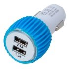 Silicone Ring 5V 2.1A Dual-Port USB Car Power Adapter Charger - White + Blue (DC 12~24V)
