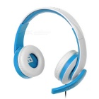 VYKON ME222 USB 2.0 Wired Headband Headphone for Game Playing - White + Blue