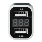 DA531 USB Car Charger w/ Current / Voltage Display - White + Silver