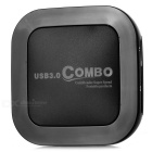 USB 3.0 Combo 3-Port HUB / SD / TF / CF Card Reader - Black