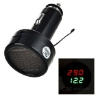 "1"" LCD Car Cigarette Lighter Powered Red + Green Display Thermometer + Voltmeter - Black"