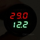 "1"" LCD Red + Green Display Thermometer + Voltmeter For Car - Black"