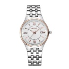 Weiqin Men's Water-Resistant Stainless Steel Strap Quartz Analog Watch w/ Calendar - White (1xS377)
