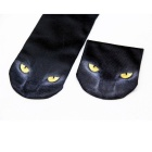Creative Spoof Fun Cat Printing Cotton Socks - Black (Pair)
