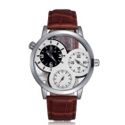 Skone mannen holle out dubbele beweging dual display lederen band quartz horloge - koffie