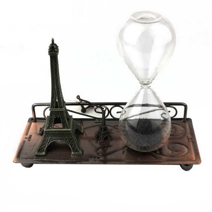Glass Magnetic Hourglass + Eiffel Tower Desktop Decoration - Black