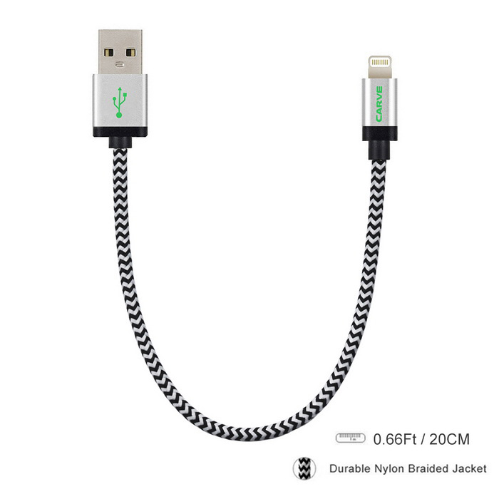 CARVE MFi 8Pin Lightning Data Cable for IPHONE / IPAD - Silver (20cm)