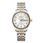 Weiqin Men's Fashion Stainless Steel Strap Quartz Analog Watch w/ Calendar - White + Golden (1xS377)