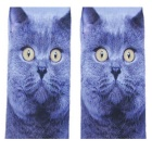 Creative Spoof Fun Cat Printing Cotton Socks - Blue + Yellow (Pair)