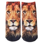 Creative Spoof Fun Lion Printing Cotton Socks - Multicolored (Pair)