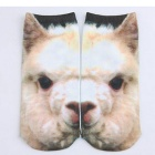 Creative Spoof Fun Lama Pacos Printing Cotton Socks - White (Pair)