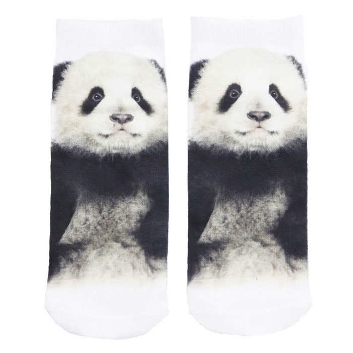 Creative Spoof Fun Panda Printing Cotton Socks - Black + White (Pair)