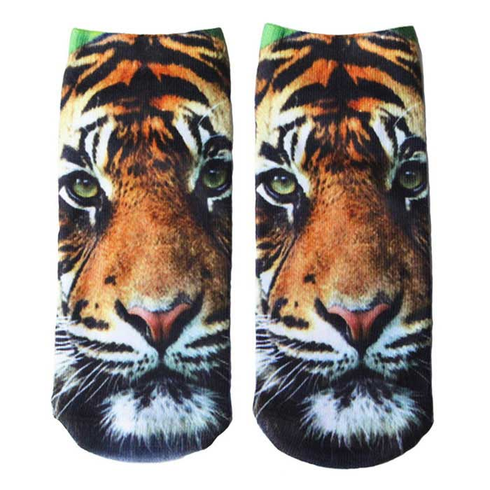 Creative Spoof Tiger Printing Cotton Socks - Brownish Yellow (Pair)