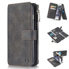 CaseMe Multifunctional Split Cow Leather Wallet Case w/ Holder / Slots for IPHONE 6S Plus - Black