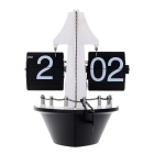 Hand-Made Steamship Shape Gear Operated Flip Down Table Clock / Wall Clock Home Decor - Black +White