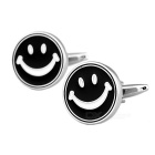 Smiling Face Pattern Brass Cufflinks - Silver + Black (Pair)