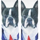 Creative Spoof Fun Dog Printing Cotton Socks - White (Pair)