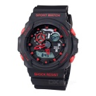 SANDA 30m Waterproof Dual Display Outdoor Sport Watch - Black + Red (1 x CR2016)