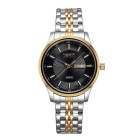 Weiqin Men's Fashion Stainless Steel Strap Quartz Analog Watch w/ Calendar - Black + Golden (1xS377)