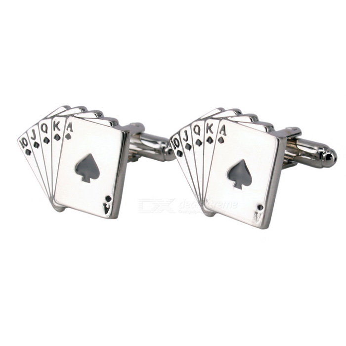 Jewelry Brass Spades Poker Shape Cufflinks - Silver + Black (Pair)