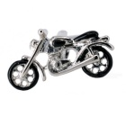Jewelry Brass Motorcycle Shape Cufflinks - Silver White + Black (Pair)