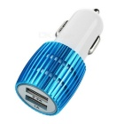 Universal 5V 2.4A / 1A Dual USB Car Charger w/ Blue Light - White + Blue (12~24V)