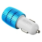 5V 2.4A / 1A Dual USB Car Charger w/ Blue Light - White + Blue