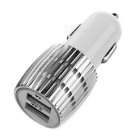 Universal 5V 2.4A / 1A Dual USB Car Charger w/ Blue Light - White + Silver (12~24V)