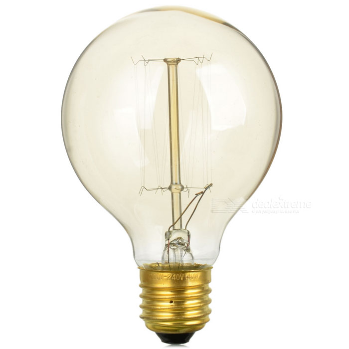 E27 40w tungsten filament bulb lamp warm white light 1976k golden free shipping dealextreme Tungsten light bulbs