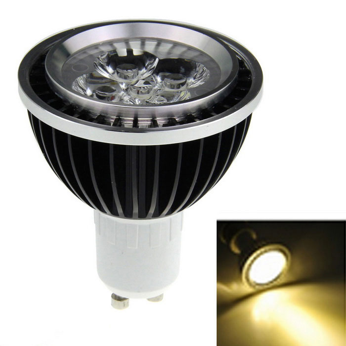 GU10 5-LED 1W Warm White Light Spotlight - Black (85~265V)