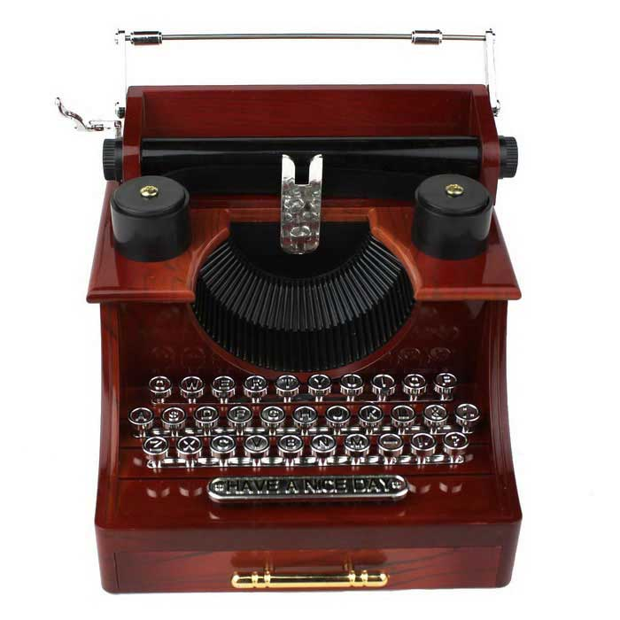 Retro Typewriter Style Music Box w/ Drawer - Deep Brown + Silver