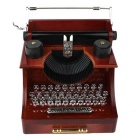 Retro Typewriter Style Plastic Music Box w/ Drawer - Deep Brown + Silver