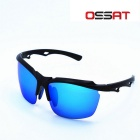 Outdoor Driving UV400 Protection TR90 Frame PC Polarized Sports Sunglasses - Black + Blue REVO