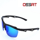 OSSAT Outdoor Driving UV400 TR90 Frame Sunglasses - Black + Blue REVO