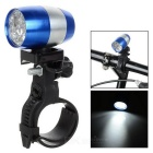 Waterproof 6-LED 2-Mode Neutral White Light Cycling Bike Light w/ Holder - Sapphire Blue