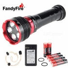 FandyFire XM-L2 U2 5-LED 4800lm 3-Mode Cool White Water & Land Diving Flashlight - Black (6 x 18650)
