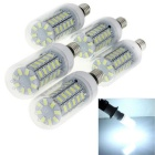 E14 6W LED Corn Bulb Lamp Cold White Light 6500K 48-SMD - White (5PCS)