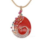 Unique Phenix Style 18K Gold Plating Artificial Opal Pendant Necklace - Golden + Wine Red