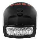 Waterproof 3-Mode 4-LED White Light Bike Headlamp w/ Bell - Black