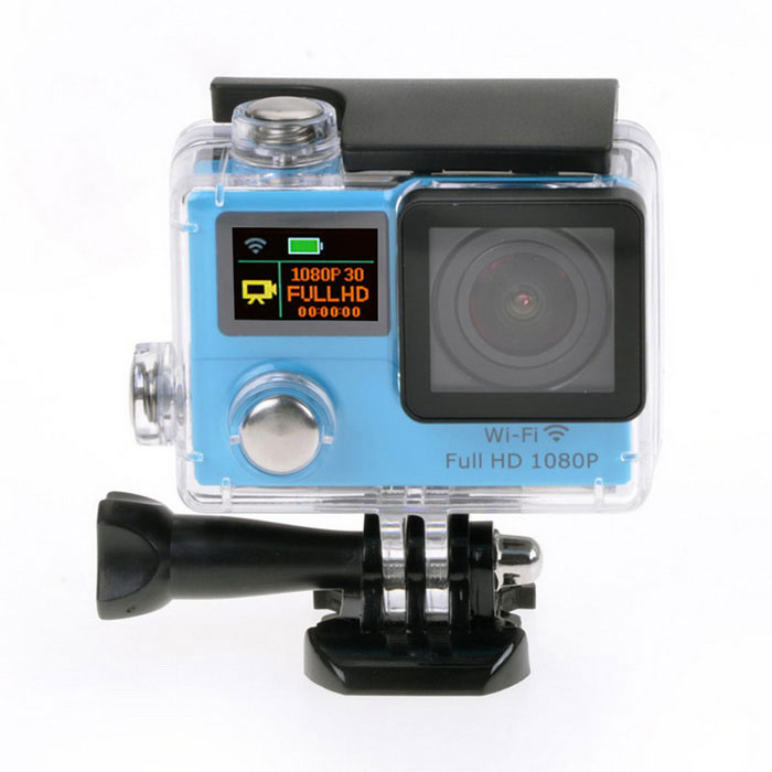 1080P Waterproof 2 12MP Mini Sport Camera w/ Ultra-wide Lens - BlueSport Cameras<br>Form ColorBlueShade Of ColorBlueMaterialABSQuantity1 DX.PCM.Model.AttributeModel.UnitImage SensorCMOSImage Sensor Size2/3 inchesAnti-ShakeYesFocal DistanceNo DX.PCM.Model.AttributeModel.UnitFocusing RangeNoBuilt-in SpeedliteNoSpeedlite RangeNoApertureNoAperture RangeNoWide Angle170° A + HD wide-angle lensEffective Pixels12.0 MPImagesJPGStill Image Resolution12M (4608*2592) / 8M (3760*2120) / 5M (2976*1672) / 2M (1920*1080)VideoMOVVideo Resolution1080P 30fps; 720P 60fpsVideo Frame Rate30,60Audio SystemStereoCycle RecordYesISONoExposure Compensation-2;-1.7;-1.3;-1;-0.7;-0.3;0;+0.3;+0.7;+1;+1.3;+1.7;+2.0Scene ModeAutoWhite Balance ModeAutoSupports Card TypeTFSupports Max. Capacity32 DX.PCM.Model.AttributeModel.UnitBuilt-in Memory / RAMNoOutput InterfaceMicro USB,Micro HDMILCD ScreenYesScreen TypeTFTScreen Size2 DX.PCM.Model.AttributeModel.UnitBattery Measured Capacity 1050 DX.PCM.Model.AttributeModel.UnitNominal Capacity1050 DX.PCM.Model.AttributeModel.UnitBattery TypeLi-ion batteryBattery included or notYesBattery Quantity1 DX.PCM.Model.AttributeModel.UnitVoltage3.7 DX.PCM.Model.AttributeModel.UnitBattery Charging TimeAbout 3 hoursLow Battery AlertsYesWater ResistantWater Resistant 3 ATM or 30 m. Suitable for everyday use. Splash/rain resistant. Not suitable for showering, bathing, swimming, snorkelling, water related work and fishing.Supported LanguagesEnglish,Traditional Chinese,Russian,Portuguese,Spanish,Italian,Korean,French,Others,Dutch, Polski, Japanese, ThaiCertificationCEPacking List1 x Wi-Fi Sports camera1 x Waterproof housing1 x Protective back case1 x Handle bar/ pole mount2 x Helmet bases 1 x Mount A1 x Mount B1 x Mount C1 x Mount D1 x Mount E1 x Mount F1 x Mount G1 x Clip A1 x Clip B2 x Bandages (36cm)  2 x Velcro straps (20cm)2 x Adhesive tapes4 x Cable ties1 x Lens cloth1 x Charger (EU plug; Input: 100~240V; Output: 5V, 1A)1 x USB Cable (60cm)1 x Li-ion Battery (3.7V, 1050mAh)1 x English user manual<br>